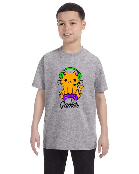 Kids Unisex Tee- Gamer Cat