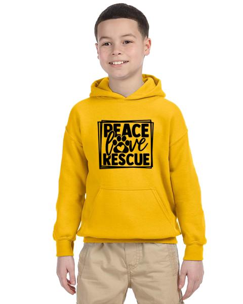 Kids Hoodie- Peace Love Rescue