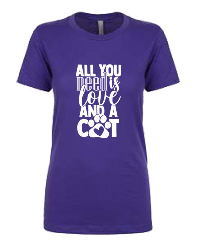 Ladies T-Shirt- Love and a Cat