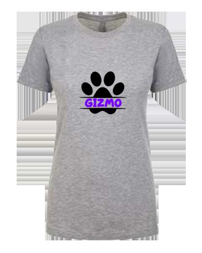 Ladies T-Shirt- Dog Paw Print Name