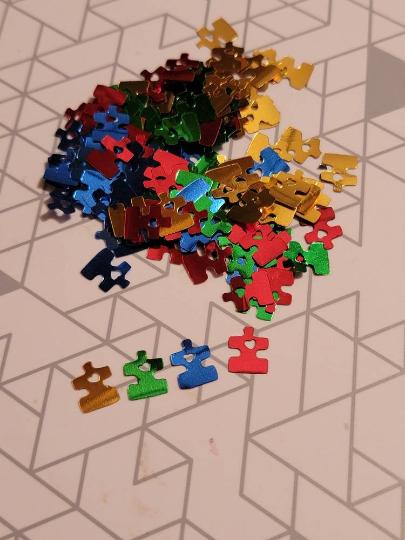 Puzzle Pieces Hearts Glitter