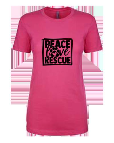 Ladies T-Shirt- Peace Love Rescue