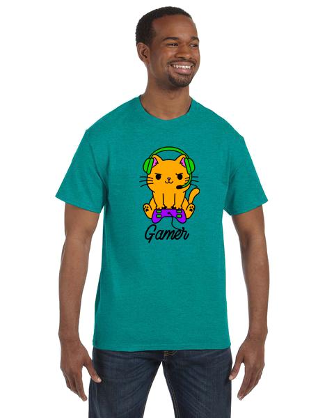 Unisex Gildan T-shirt- Gamer Cat