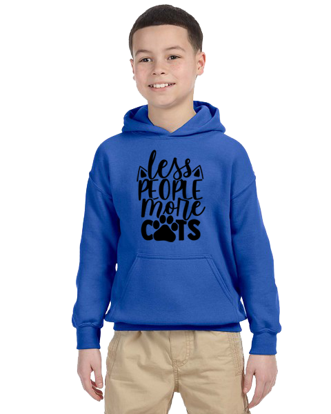 Kids Hoodie- Less People More Cats