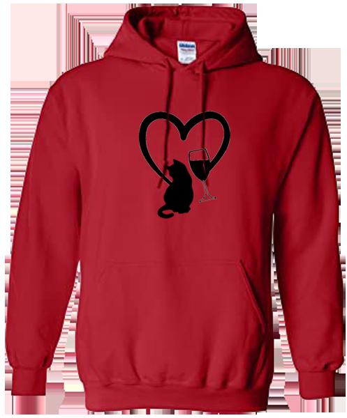 Unisex Hoodie- Cat Heart Wine