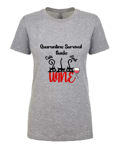 Ladies T-Shirt- Wine Cats Quarantine