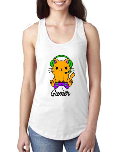 Ladies Tank- Gamer Cat