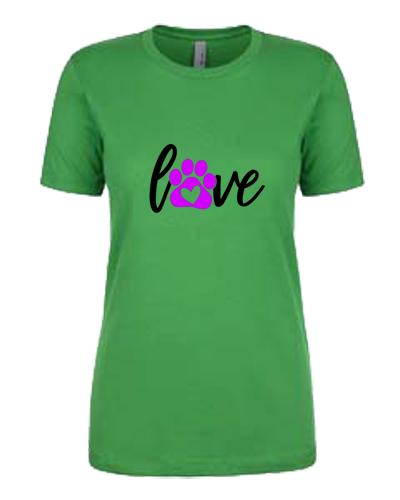 Ladies T-Shirt- Love With Paw Design