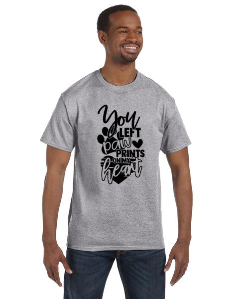 Unisex Gildan T-shirt- Paw Prints on Heart