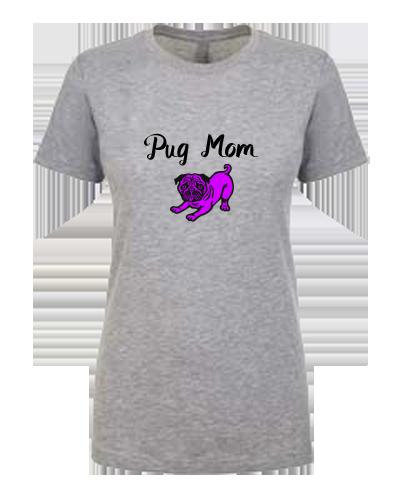 Ladies T-Shirt- Pug Mom Color Pug