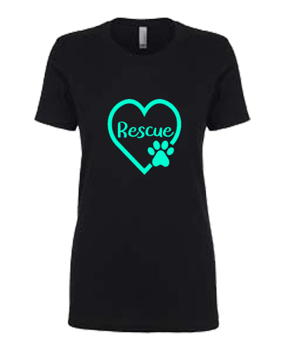 Ladies T-Shirt-Rescue Paw Heart
