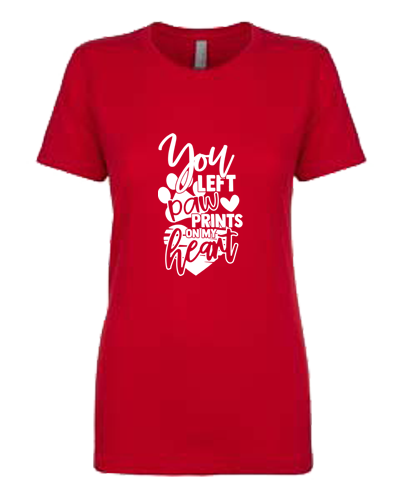 Ladies T-Shirt- Paw Prints On My Heart