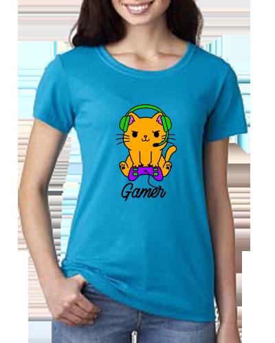 Ladies T-Shirt- Gamer Cat