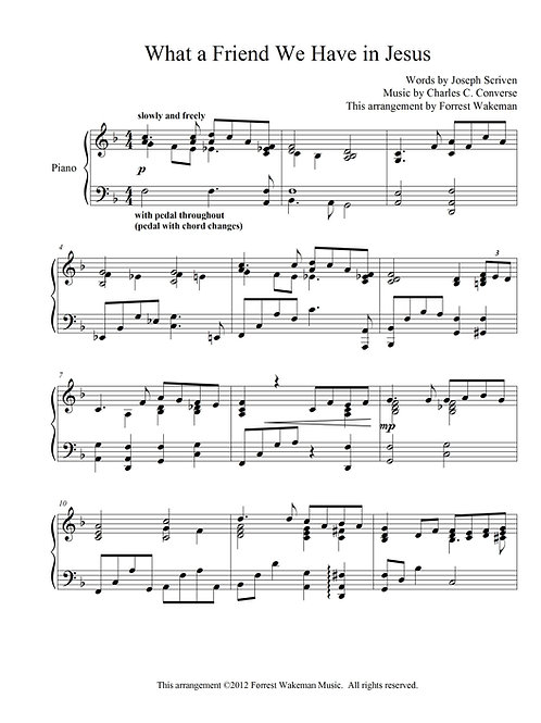 What a Friend We Have in Jesus - piano sheet music
