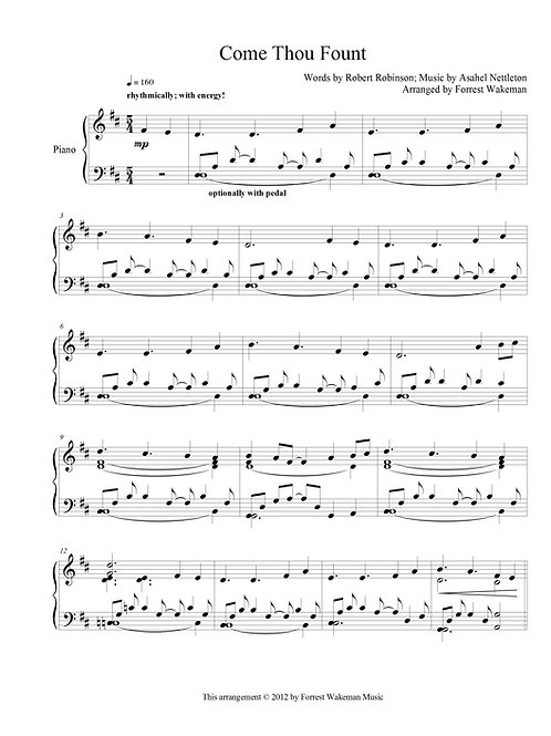 Come Thou Fount - piano sheet music