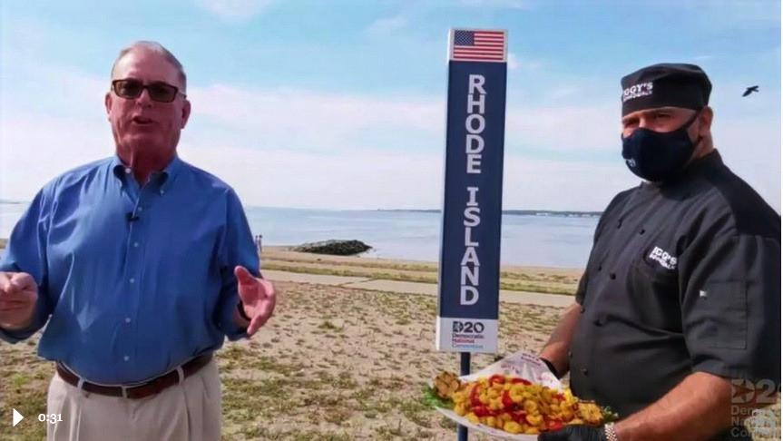 """Calimari guy"" holding platter of fried calimari duirng Rhode Island segment of the 2020 Democratic National Convention."