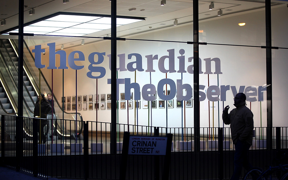The Guardian and Observer office, near King's Cross in London, England. (Credit: Peter Macdiarmid/Getty)