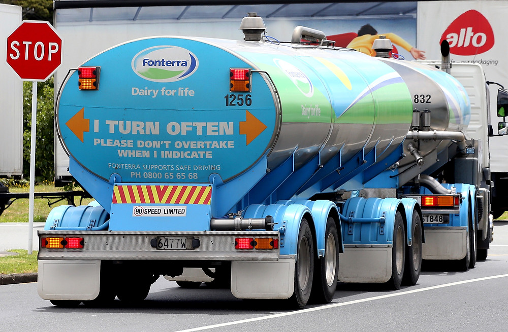Fonterra-branded milk delivery tanker on an Auckland street.
