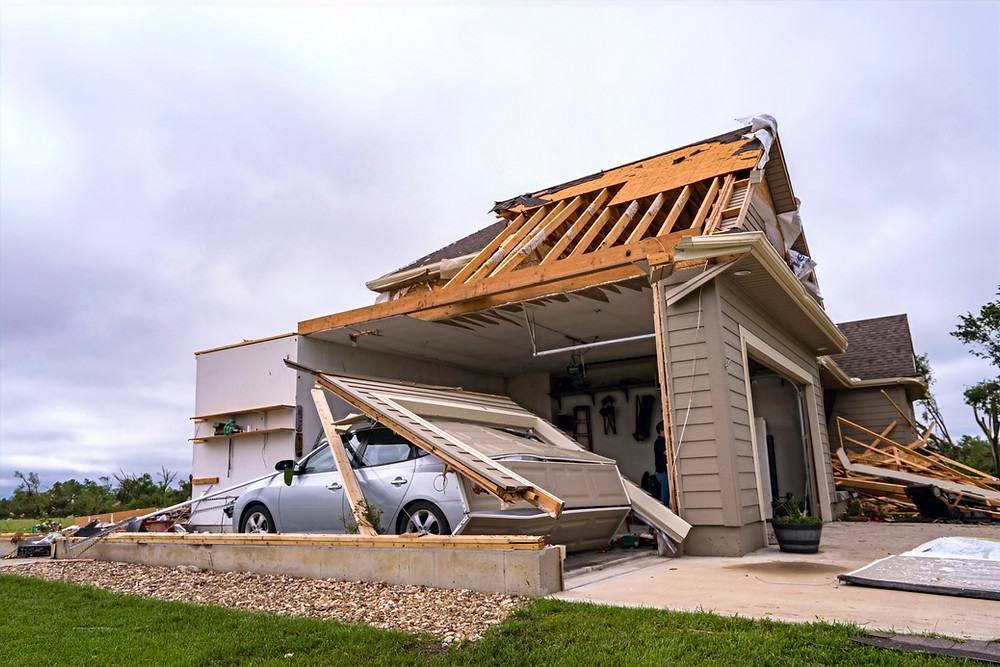 Extreme weather damaged homes and businesses in Linwood, Kansas in May 2019, (Credit: Kyle Rivas/Getty)