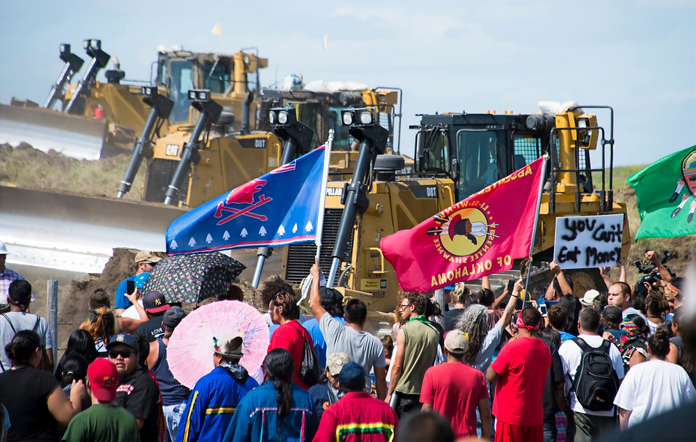Protests against the Dakota Access Pipeline in 2016. Credit: Robyn Beck/AFP/Getty