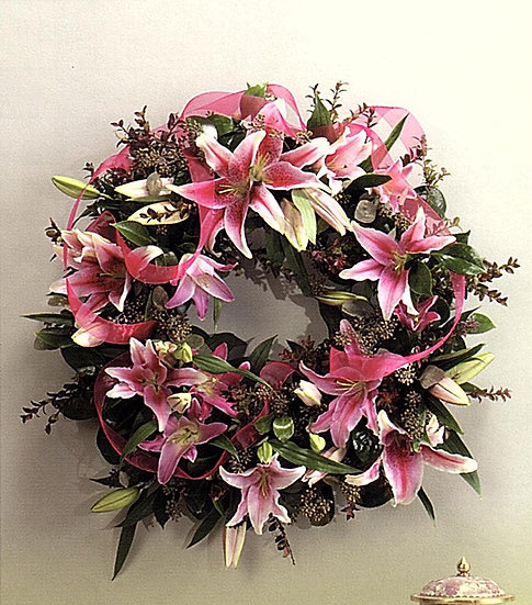 Lily Wreath on Easel