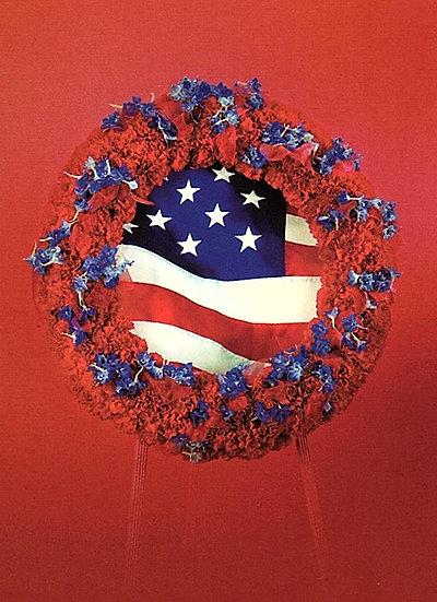 Red Wreath with Flag Insert
