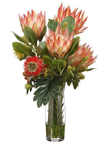 """26"""" H X 17""""W X 17"""" L Protea/Leucospermum in Glass Vase Orange"""