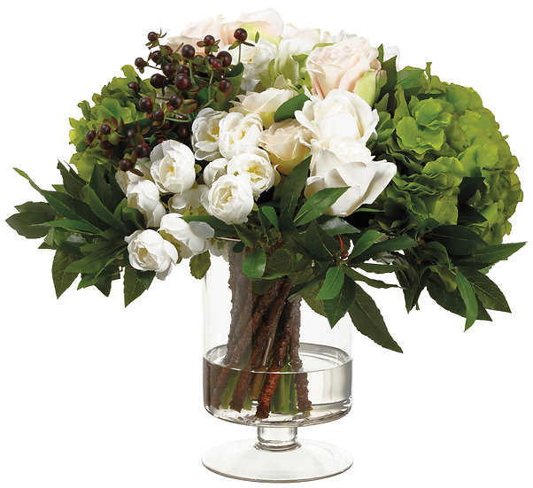 """18""""H X 15""""W X 17""""L Ranunculus/Rose in vase"""