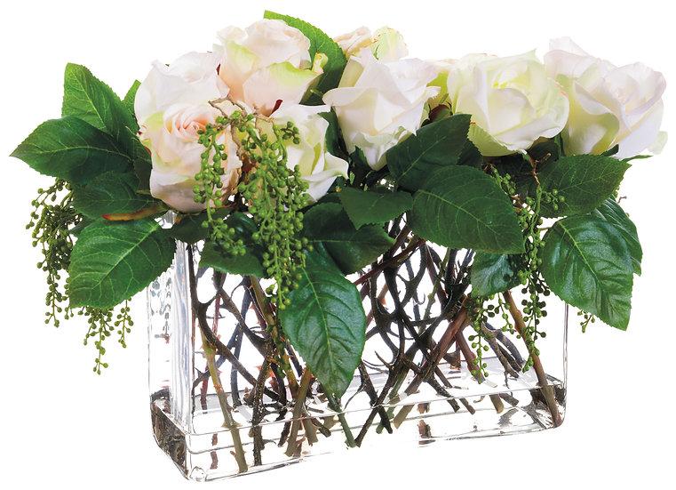 "12""H X 10""W X 15""L Rose/Berry in Glass Vase"