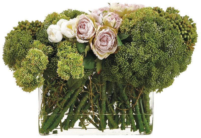 """13"""" Sedum/Rose in Glass vase"""
