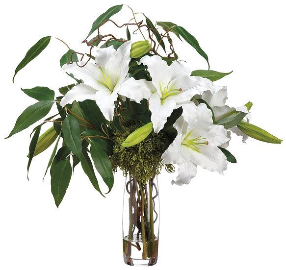 "30""H X 25""W X 25""L Casablanca Lily/Eucalyptus in Glass Vase"