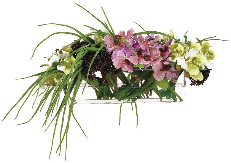 """13""""H X 21""""W 25""""L Vanda Orchids in Glass vase"""
