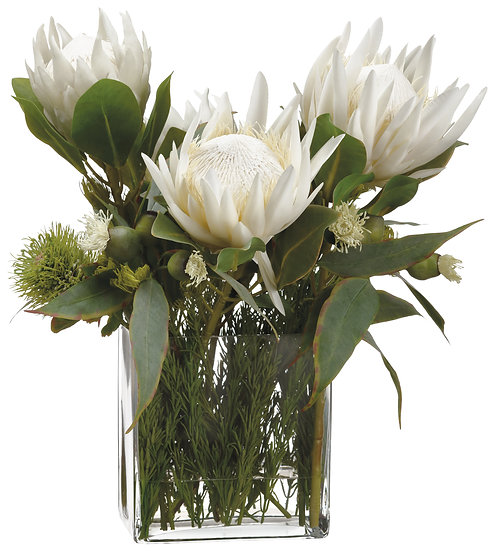 """21""""H X 19""""W X 21""""L Protea/Rosemary/Wolly in Glass vase"""