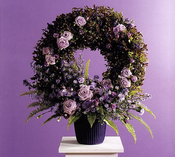 Standing Wreath with Floral Accents