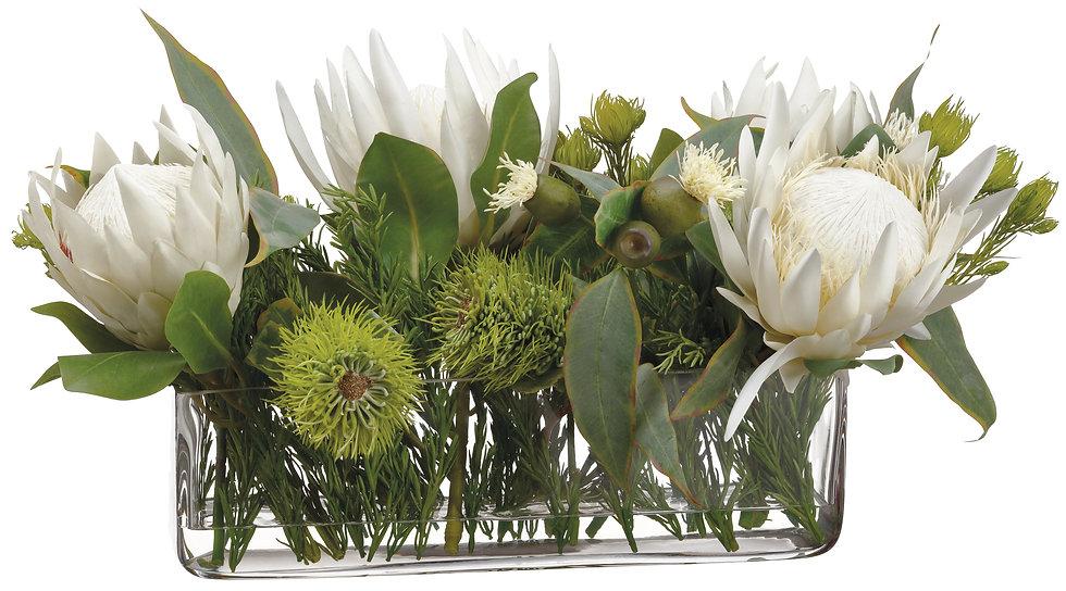 "13""H X 11""W X 23""L Protea/Eucalyptus/Wolly invase"