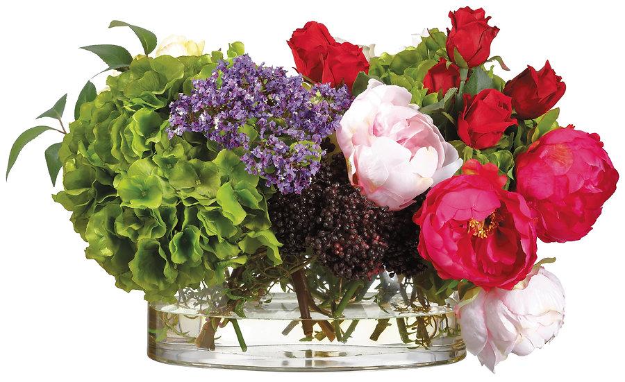 "14""H X 13""W X 22""L Rose Hydrangea/Peony in Glass vase"