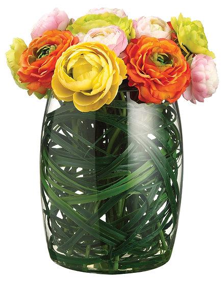 """13""""H X 10""""W X 10""""L Ranunculus/Grass in Glass Vase"""