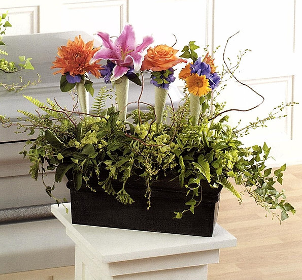 Planter Box Arrangement with Nosegays