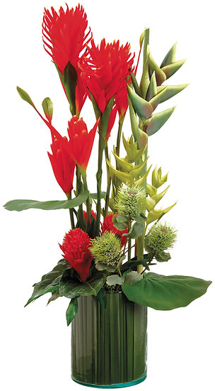 """42.5""""H X 21""""L Tropical Mix in Glass vase"""