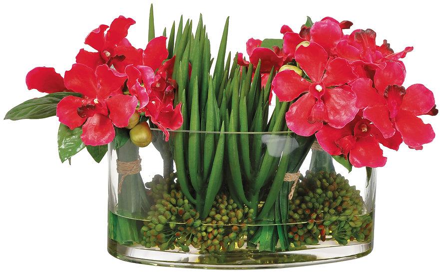 "10.5""H X 13""W X 19""L Vanda Orchid in Glass vase"