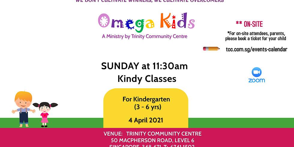 Omega Kids (Kindy level) on-site 4 Apr 2021@11:30am