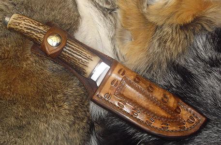 Elk hoofprint knife sheath