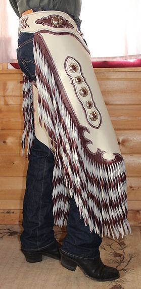 Chinks with conchos and 2-tone fringe