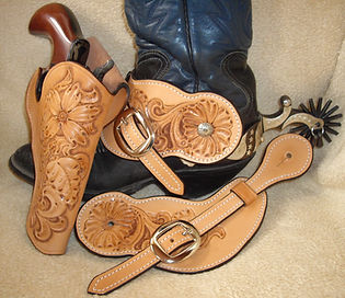 Holster and matching spur straps