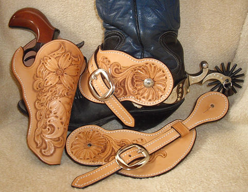 Floral holster with matching spur straps