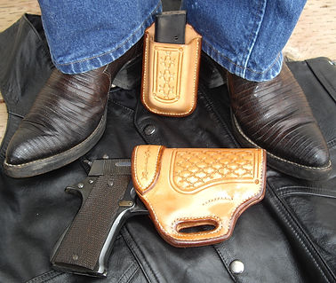 Semi-auto holster with matching mag holster