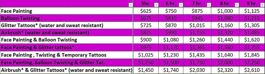 pricing list 2
