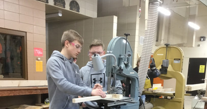 Jack and Nick cross cutting blanks on the bandsaw