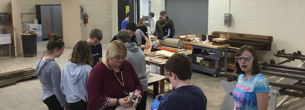 The 8th grade 2019 class working on various projects