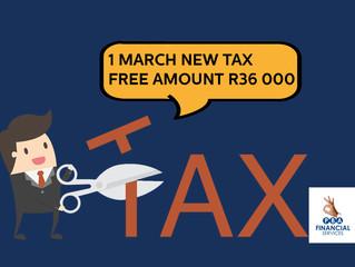 NEW TAX FREE AMOUNT R36 000